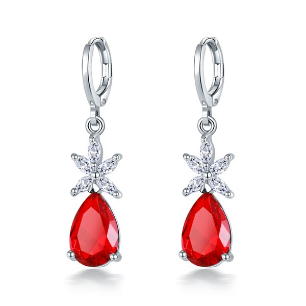 New cubic zirconia CZ fashion drop-shaped crystal earrings Charm ladies party party jewelry gift support wholesale 5-ER19515