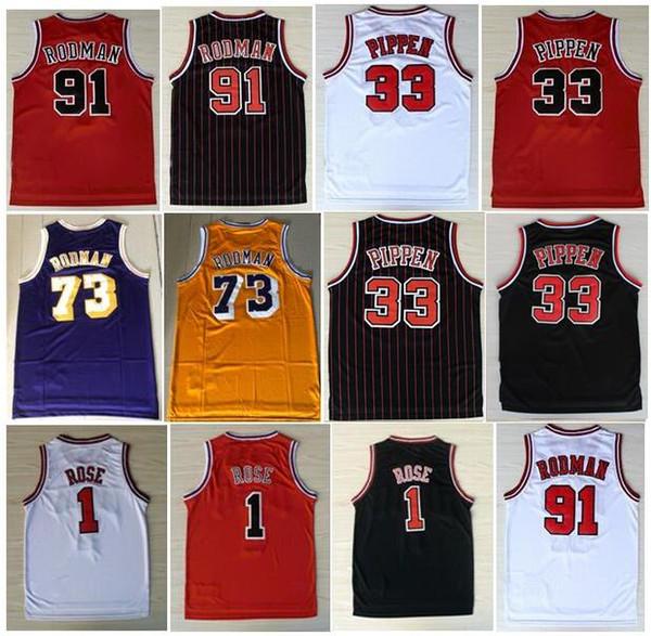 Whoesale Mens broderie 1 # Derrick Rose Jersey Le ver 91 # Dennis Rodman Rouge Blanc Noir 33 # Scottie Pippen Jersey Michael Chemises Cousu