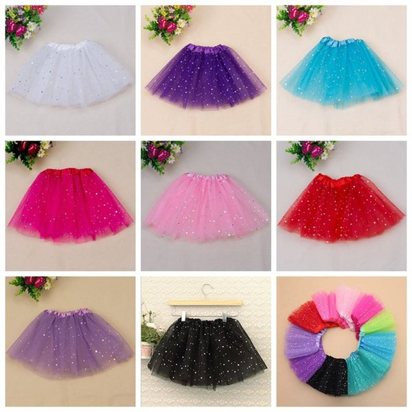 kids girl star glitter dance tutu skirt sequin with 3 layers tulle tutu toddler girl chiffon Birthday Party free shipping