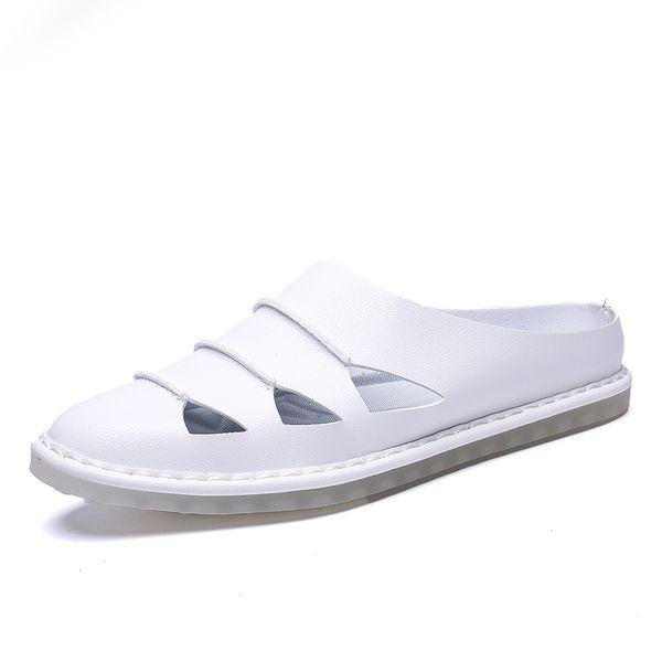 Neue 2019 Sommer Männer Große Beiläufige Sandalen Britische Herren Echtes Leder Strand Schuhe Kühlen Hausschuhe Toe Big Flats