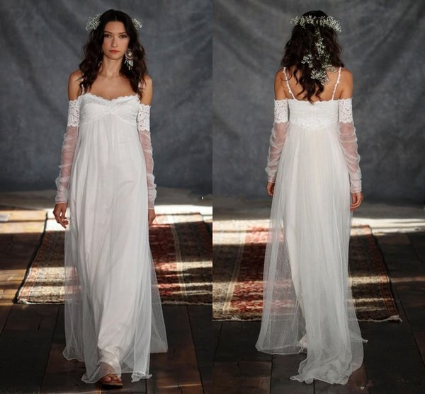 Bohemia Summer Beach Wedding Dresses 2019 Greek Style Sheath Spaghetti Straps Vintage Lace with Illusion Long Sleeve Boho Bridal Gowns Cheap