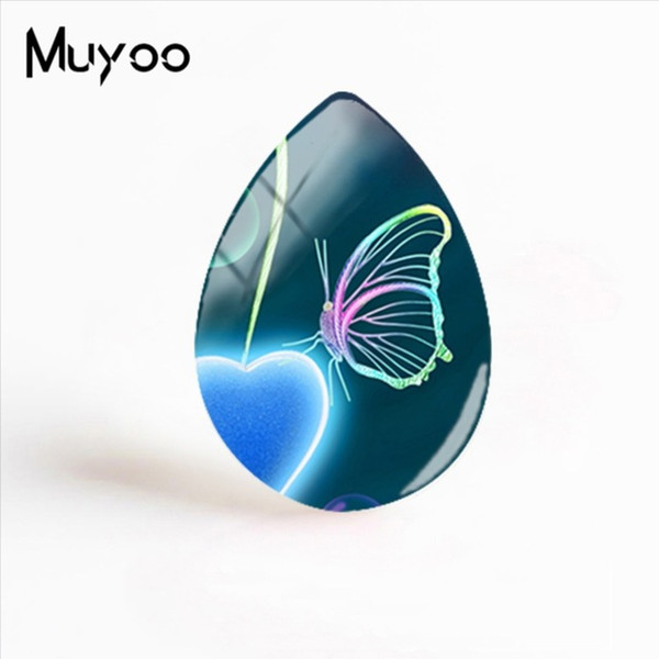 2019 New Abstract Butterfly Art Jewelry Butterflies Paintings Glass Cabochon Tear Drop Cabochons Photo Gifts Women