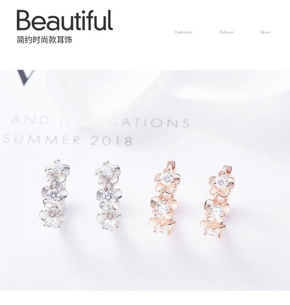 2019 Europe and America S925 sterling silver romantic flower earrings women's crystal elements elegant ear jewelry