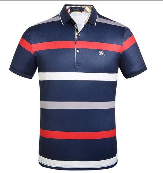 Le più recenti polo da uomo di design in Italia Magliette di marca Polo casual da uomo con polo in cotone con stampa a strisce e lettere ricamate