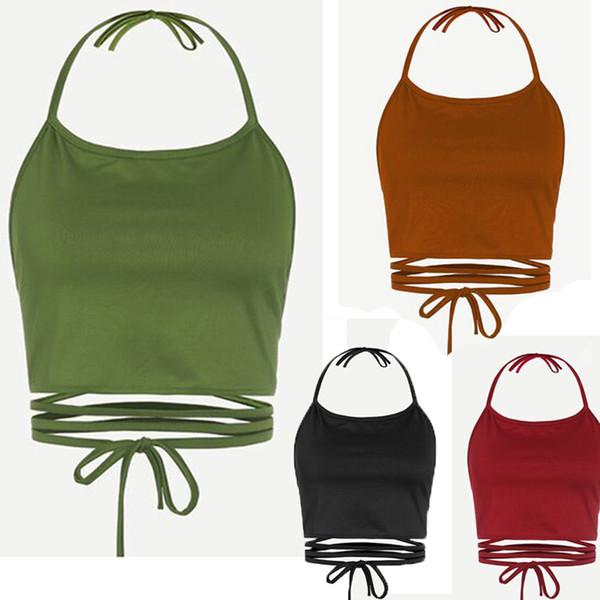 Бинты женские полые укороченные топы без рукавов жилет без спинки Холтер топы Haut Femme Бюстье Boho Debardeur Femme