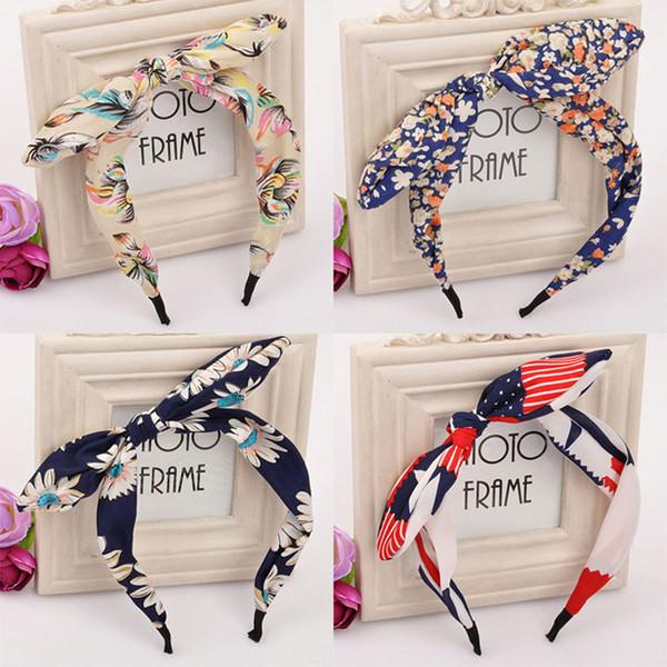 Hairband per le donne Capelli gioielli Tessuto Bow Knot Hair Hoop Rabbit Ears Fascia per copricapo Accessori per capelli Donna C355