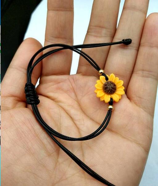 New sunflower Bracelet Charm pu Leather Bracelet Fashion Cheap Jewelry For girls and Women
