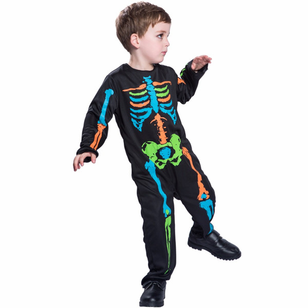 costumes costumes Carnival Anime Costume For Kids Scary Boy Skeleton Costume Black Pyjama Jumpsuit Halloween Boys Cosplay 2017