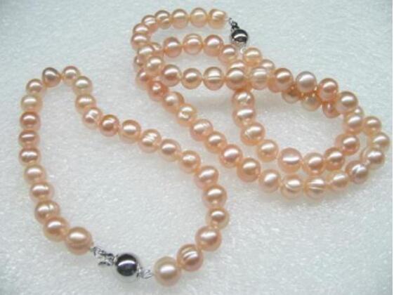 Jewelryr Pearl Набор Подлинная 7-8 мм розовый пресноводный жемчуг Ожерелье Браслет Бесплатная Доставка