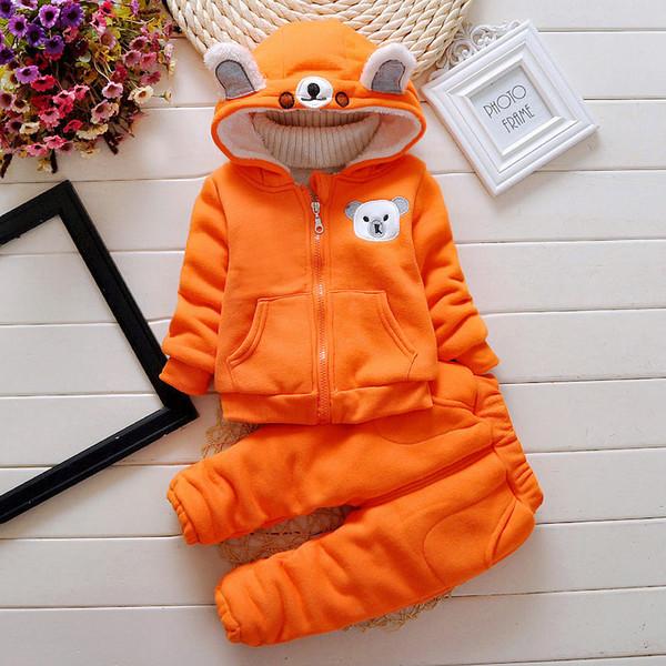 Qualidade primavera outono meninos conjuntos de roupas com capuz de espessura de veludo quente roupas terno dos desenhos animados roupas de desporto roupas de treino de moda