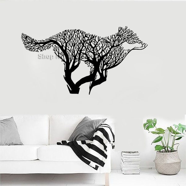 Wolf Dog Animals Wall Tattoo Decals Wolves Tree Styling Wall Stickers Vinyl Home Decor Creative Murals Hot Vinilos Paredes