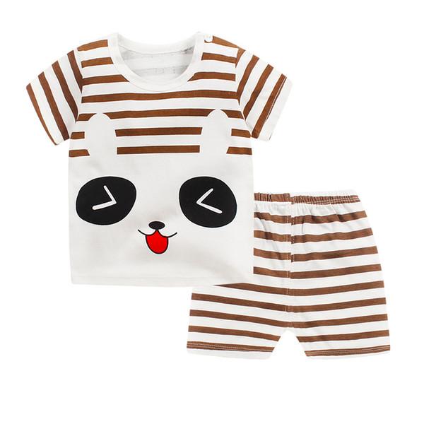 2019 детский костюм новый хлопок ребенок с коротким рукавом комплект одежды лето детские мальчики и девочки костюм тела мультфильм дети комплект одежды