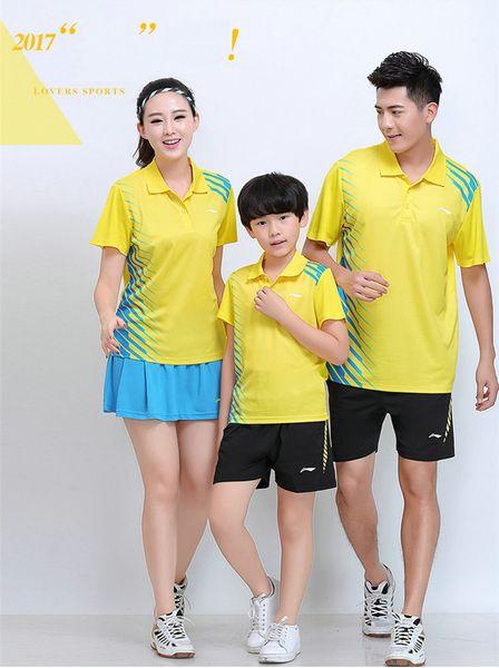 LI NING 7301 Schnelltrocknende atmungsaktive Badmintonanzug-T-Shirt-Shorts mit kurzen Ärmeln Laufen Basketball-Bekleidung MenWomenKids gelb