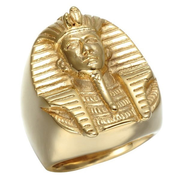 Free Shipping!Fashion Male Finger Rings Gold Plated Men's Stainless Steel Egyptian Pharaoh King Ring Cube Ring