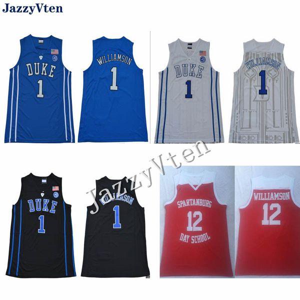 Spartanburg Day School # 12 Sion Williamson camisetas de Duke universidad # 1 bordados camisetas de baloncesto cosido a medida jugador uniformes