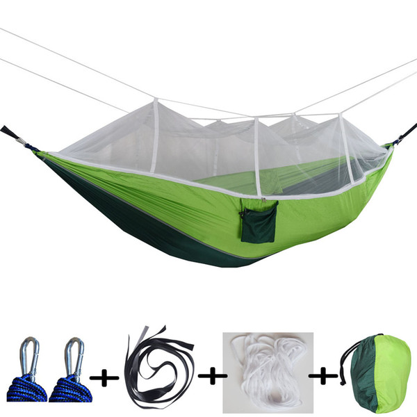 Москитная сетка гамак 15 цветов 260 * 140 см открытый парашютные ткани поле для кемпинга палатка сад кемпинга качели висит кровать