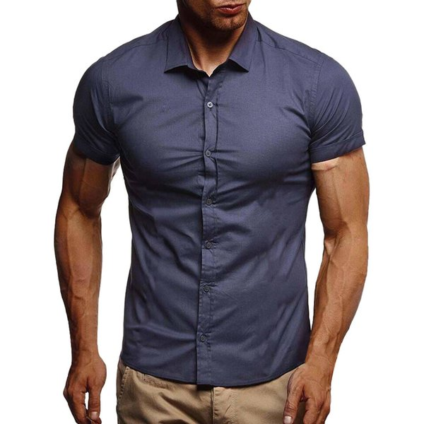 2019 Male High Quality Shirts Men Pure Color Button Splicing Pattern Tops Males Casual Lapel Short Sleeve Slim Fit Shirt