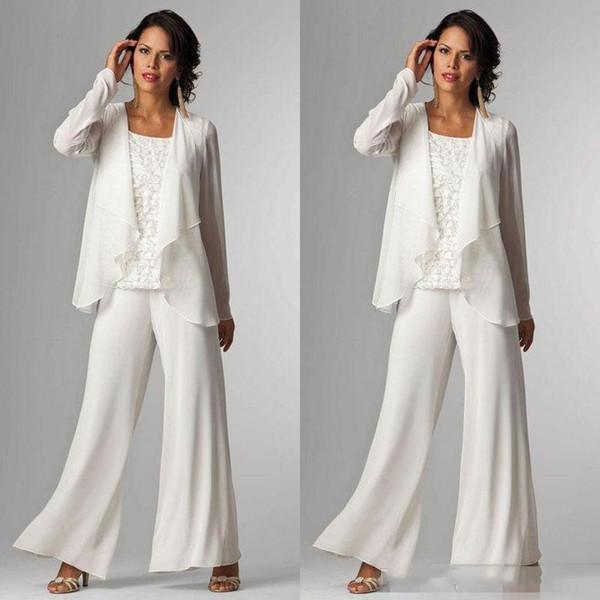 Barato 2019 elegante blanco de gasa madre de la novia traje pantalón para la boda de manga larga más el tamaño formal de las mujeres vestido de noche por encargo