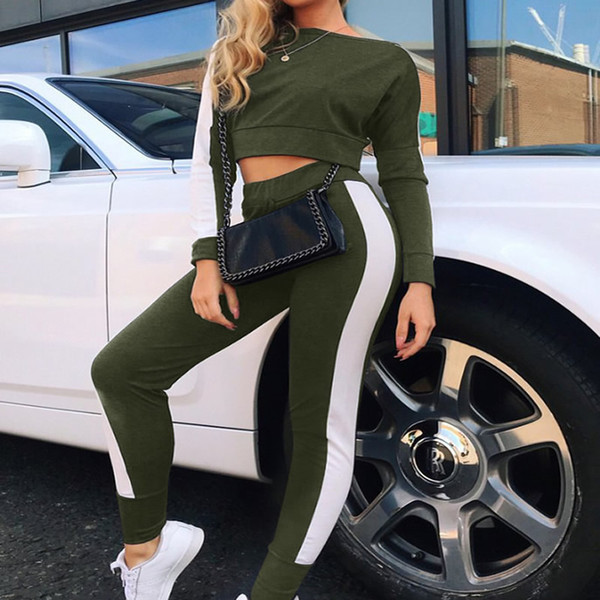 Casual Autumn Tracksuit Women Two Piece Set Long Sleeve Crop Tops Sweatshirts + Long Pants 2018 Striped Sportswear 2 Piece Set