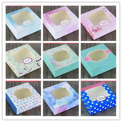 20pcs/lot New Arrival Kraft Cake Box with pvc window Muffin/Biscuit Packaging Box Gift for Cupcake/Cookies Small Paper Boxes