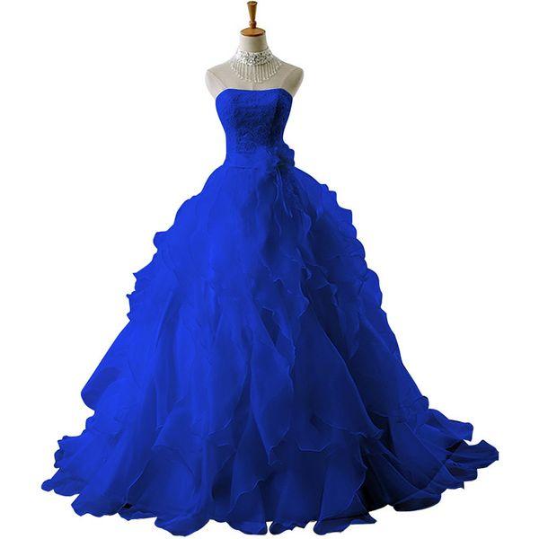 Mingli Tengda Elegante Rosso / Blu royal / Nero / Lavanda / Borgogna / Rosa Organza Banchetto Abiti da sposa A-Line Abito da sposa Abiti da sposa Senza spalline