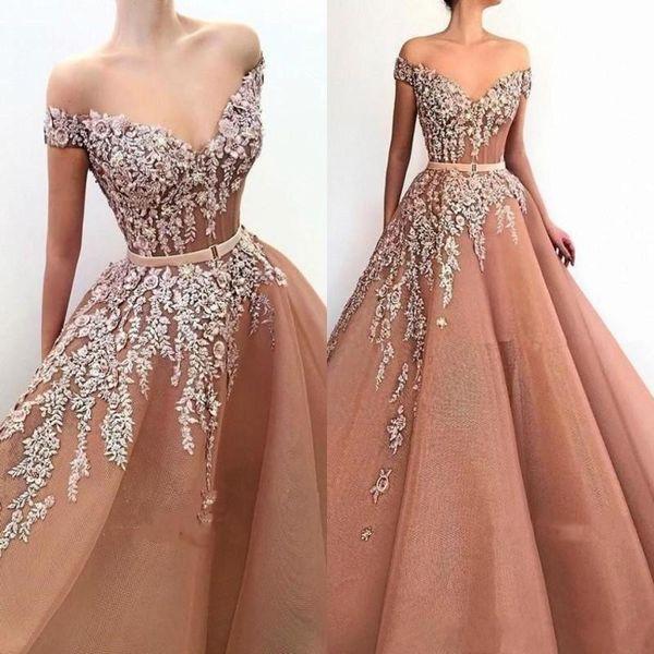 Elegant Off Shoulder Prom Dresses Lace Applqiues Beaded Formal Evening Gown  Plus Size Special Occasion Dresses 2019 Quinceanera Dresses Online Dress ...