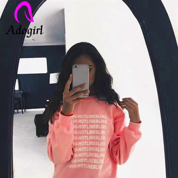 Adogirl Brief drucken Pink Lady Hoodies Langarm Hoodie Top Fleece Herbst Oberbekleidung Freizeit o Hals lose Frauen Hoodies