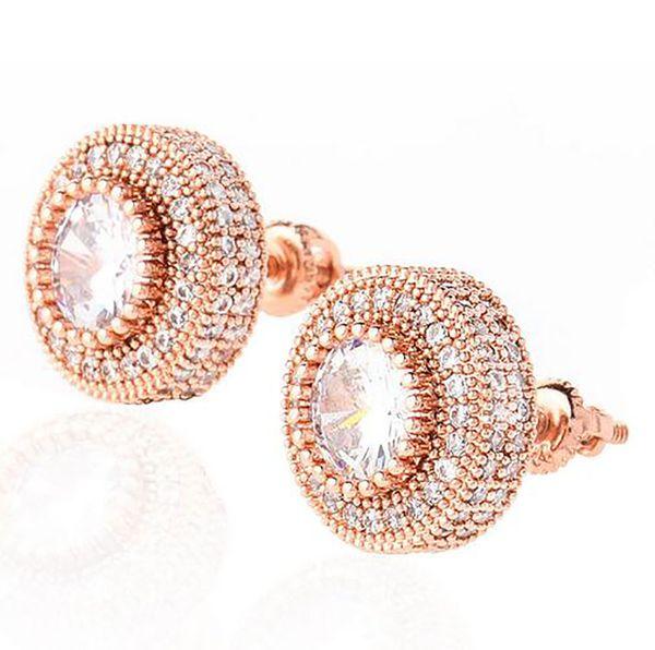 Mens Mega 3D Cluster CZ Micro Pave Bling Bling Earrings Rose Gold Silver Gold Stud Earring For Men Women Hip hop Jewelry