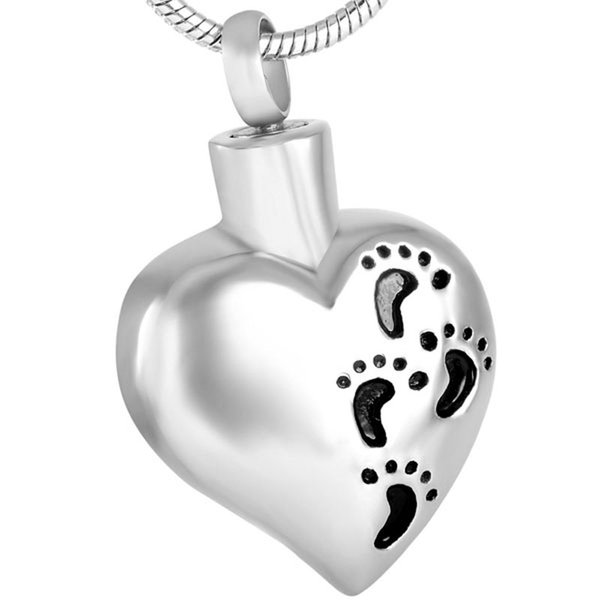 Follow with me! Foot print in heart Pendant Necklace ash keepsake cremation jewelry personalized color for women girls