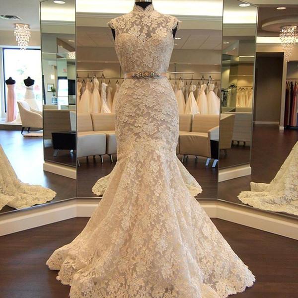 2019 Elegant High Neck Mermaid Brautkleider Spitze Applikationen Perlen Schärpe Brautkleid vestido de noiva BC1842