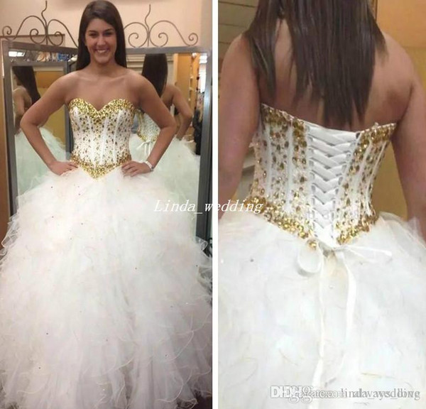 2019 Beautiful Ruffles Quinceanera Dress High Quality Beaded Crystal Sweet 16 Long Girls Party Pageant Ball Gown Plus Size Custom Made