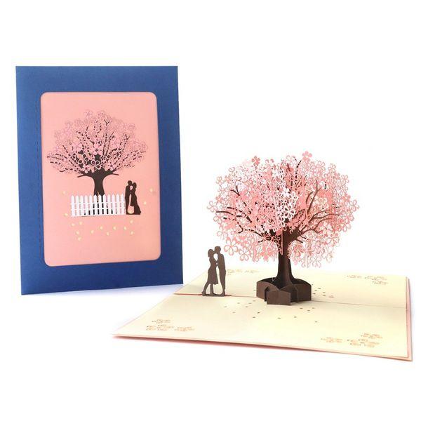 Romantik Kiraz Çiçeği Ağacı Openwork 3D Tebrik Kartı Pop UP Yaratıcı El Yapımı Kağıt Hediyeler Sevgililer Günü Kartı By DHL
