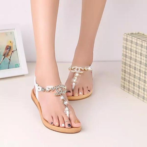 Döndürme'yi Thong 2018 Yeni Bohemian Kadınlar Sandalet Kristal Düz Topuk Sandalias Yapay elmas Zinciri Kadın Ayakkabı Zapatos Mujer Floplar