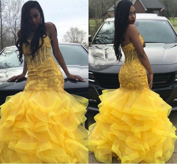 Tier Jaune Volants De Tulle Jupe Robes De Bal 2019 Mermaid Sweetheart Africain Noir Filles Robes De Soirée Avec Appliques Perles BC1635
