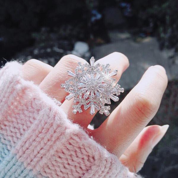 Luxus Shiny Drehbare Kubikzircon Schneeflocke Ringe für Frauen Rotating Open Zeigefinger Ring Mode Korean Hochzeit Schmuck