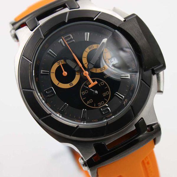 Luxury Brand T-Race T048 Chronograph Quartz Sport Orange Rubber Strap Deployment Clasp Limited Bracelet Men Watch Wristwatches Watches