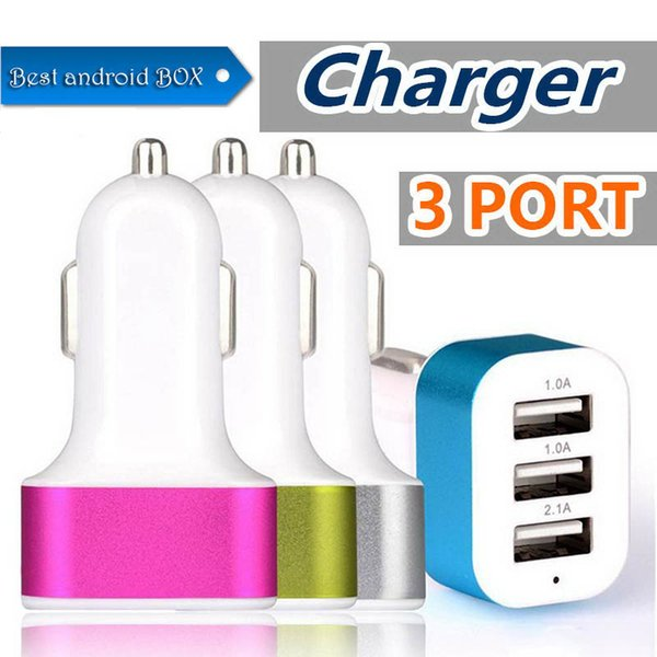 New 3 usb port car Auto charger Adapter for universal smartphone cellphone ipad universal Charge 3 USB devices at the same time