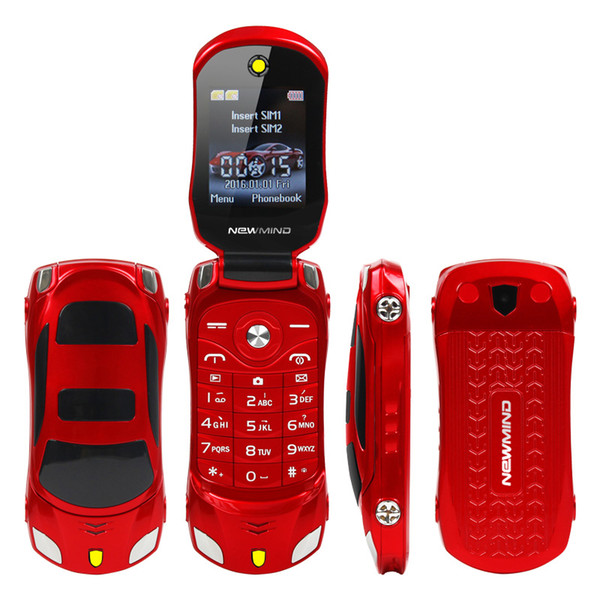 Original F15 Unlocked Flip Phone Dual Sim Mini Sports MP3 Radio Car Model Blue Lantern Bluetooth Mobile Phone 2sim Celular For Child Gift