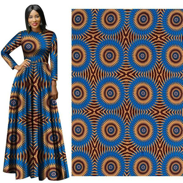 Latest style real wax Cotton fabric African Wax Clothes Dutch Wax 6 yards for party dress african new hollandais