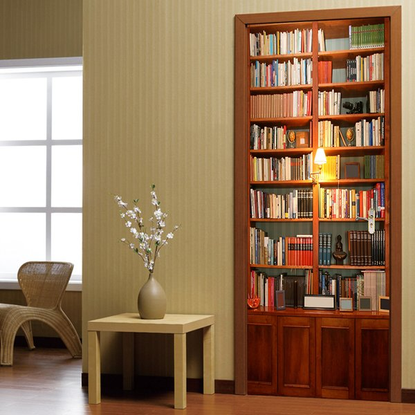 New Vintage book cabinet Door wall Sticker Graphic Unique Mural Cosplay Gift for living room home decoration Creative Pvc Decal paper WN644B