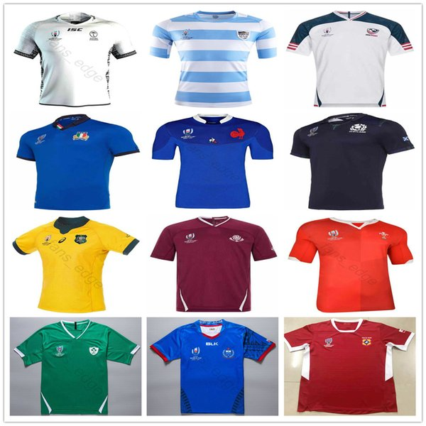 best selling 2019 World Cup Rugby Jerseys Fiji Tonga Samoa Georgia Scotland Australia Wales Italy French Japan Argentina Home Away Shirt Size S-3XL