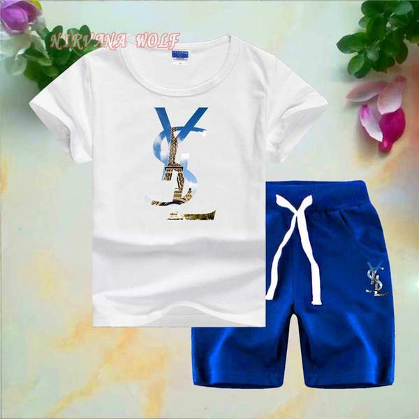 YVSLR Küçük Çocuklar Setleri 1-7 T Çocuk O-Boyun T-shirt Kısa Pantolon 2 Adet / takım Erkek Kız Saf Pamuk Eyfel Kulesi Baskı Çocuk Yaz setleri