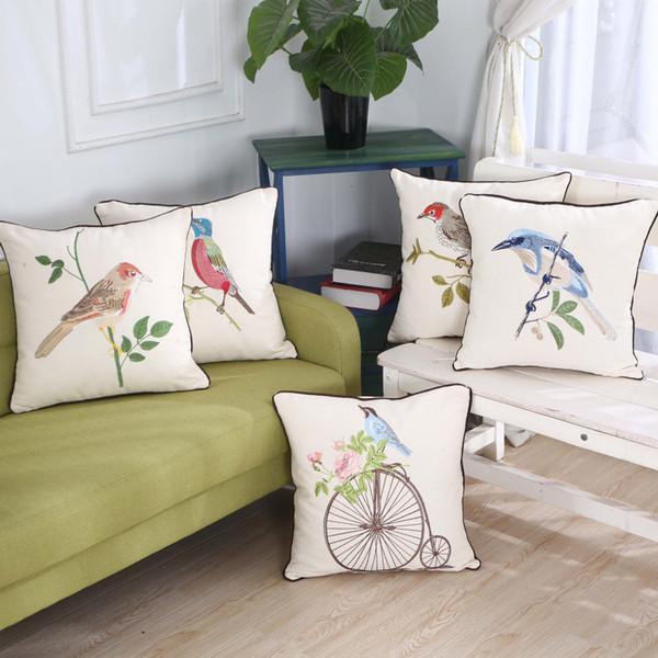 Copricuscino con ricamo a forma di uccello ricamato per la primavera e l'estate