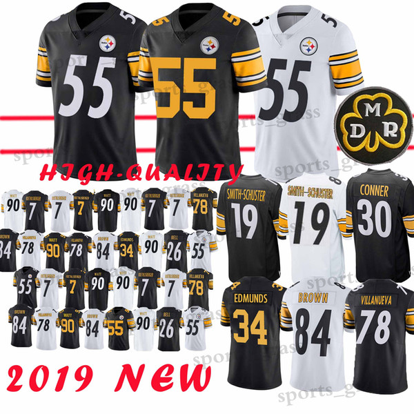 finest selection 6c463 d6237 2019 55 Devin Bush 30 James Conner Jerseys Pittsburgh Steeler Jerseys 7 Ben  Roethlisberger 19 Juju Smith Schuster 90 T.J. Watt Jerseys Promotion From  ...