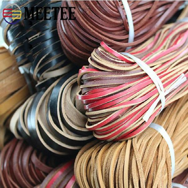 Meetee 10мм * 2,5мм кожа Шнуры Flat Leather Rope DIY ручной браслет ювелирных изделий для одежды Обувь Сумки Изготовление Craft BD255