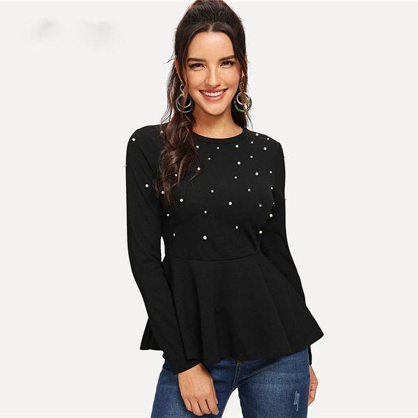 Black Pearls Beaded Solid Peplum Top Elegant Round Neck Long Sleeve Flared Blouses Women Autumn Plain Minimalist Blouse