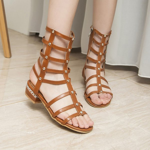 446b2d01da09 Open toe low heel sandals for women fashion hollow out Gladiator shoes  summer sandals boot with