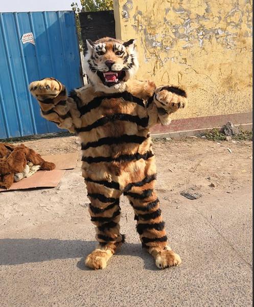 De alta qualidade Real Pictures Deluxe tigre traje da mascote da pele do animal da mascote Dos Desenhos Animados Personagem Traje Adulto Tamanho frete grátis