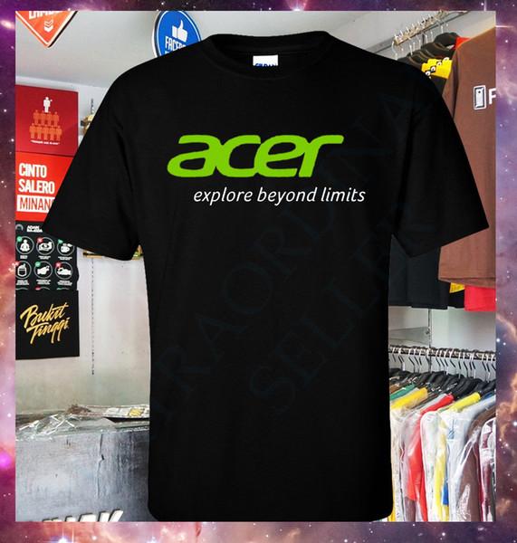 Нового Acer Explore Beyond Limits Логотип игрового ноутбука и PC тенниска S-2XL Пользовательской тенниска логотип текст фото женщин люди футболка мужчины