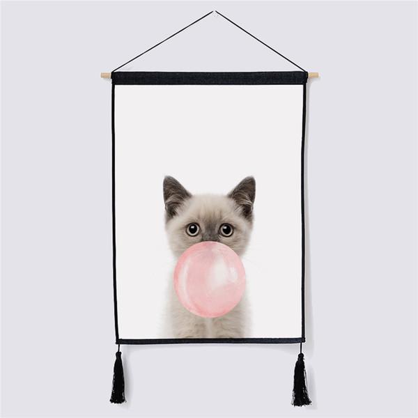 Cute Cat Fabric Hanging Painting